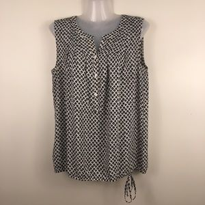 Anne Taylor LOFT  sleeveless drawstring blouse M